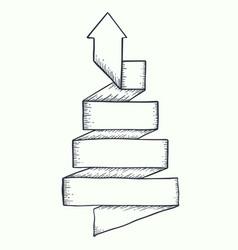 arrow twist up drawn vector image