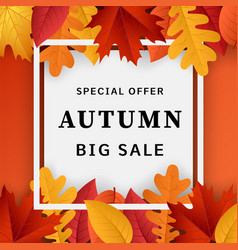 autumn big sale concept background realistic vector image