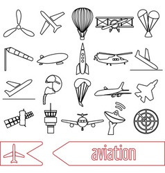 aviation big set of outline simple icons eps10 vector image
