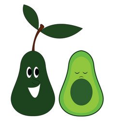 avocado with face character hand drawn design on vector image