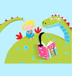 Big dragon reading book to little girl vector