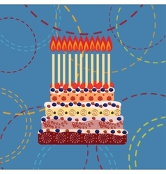 Birthday cake with eleven candles Eleven years vector image
