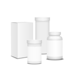 Blank set of plastic packaging bottles with box vector