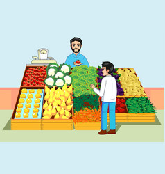 Boy buying vegetables and fruits at farmers market vector