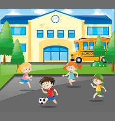 boys and girls playing football at school vector image vector image