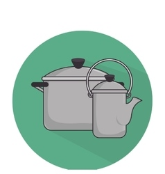 Camping pots equipment icon vector