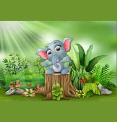 cartoon a baby elephant sitting on tree stump vector image