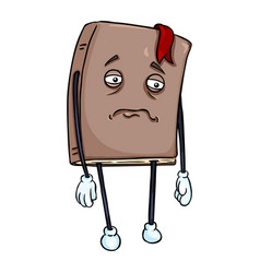 Cartoon character - sad lively brown book vector