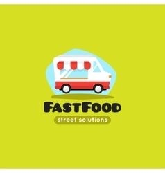 Cartoon fast food truck logo vector