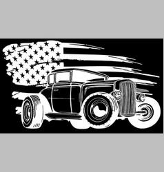 Cartoon retro hot rod silhouette in black vector