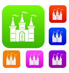 castle set color collection vector image