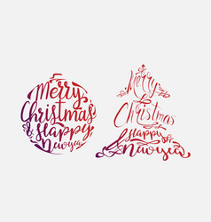 christmas calligraphy design vector image