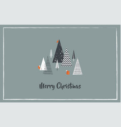 Christmas greeting card with winter forest vector
