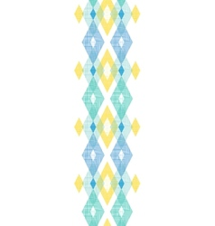 Colorful fabric ikat diamond vertical seamless vector