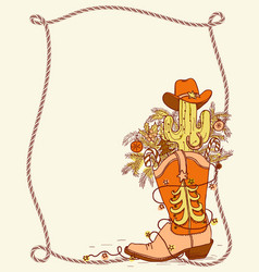 cowboy boot with christmas elements hand drawn vector image