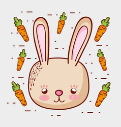cute bunny with carrots doodle cartoons vector image