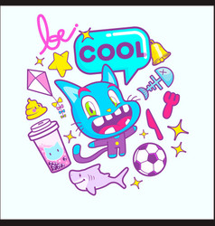 cute cat cartoon sticker vector image