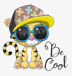 Cute tiger with sun glasses vector