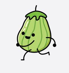 Cute zucchini fruit mascot character vector