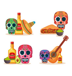 day of the dead masks with culture icons vector image