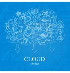 Doodle Social Cloud vector image