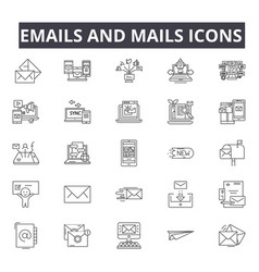 emails and mails line icons for web and mobile vector image