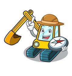 Explorer excavator mascot cartoon style vector