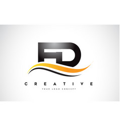 Fd f d swoosh letter logo design with modern vector