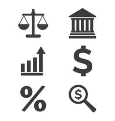 finance flat icons set on white background vector image
