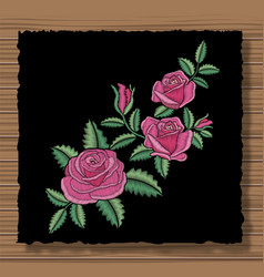 Floral stitched ornament with stitch flowers and vector