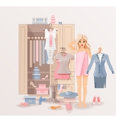 Girl with clothes closet vector