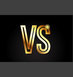 gold alphabet letter vs v s logo combination icon vector image