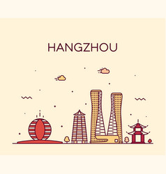 hangzhou skyline zhejiang east china city vector image