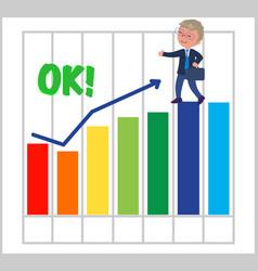 Happy businessman with good bar chart vector