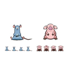 Happy cartoon pig and mouse set vector