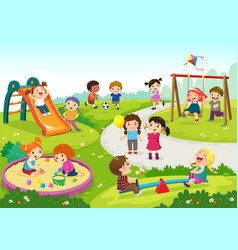 Happy children playing in playground vector