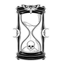 human skull in hourglass isolated vector image