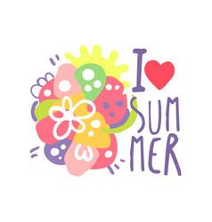i love summer logo template original design vector image