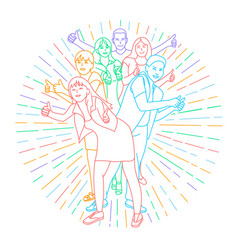 icon of happy young people vector image