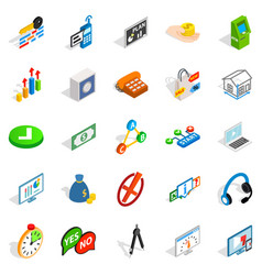 Image icons set isometric style vector