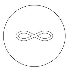 infinity symbol icon black color in circle or vector image