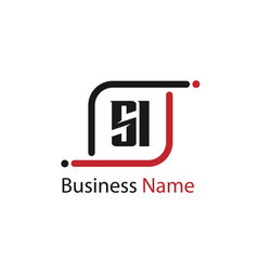 initial letter si logo template design vector image
