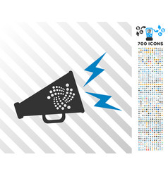 Iota alert megaphone flat icon with bonus vector