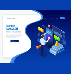 isometric online language learning interface and vector image