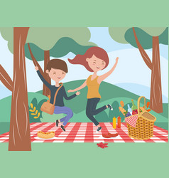 Jumping couple blanket food picnic nature outdoors vector