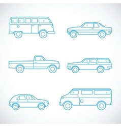 Line Style Cars Set vector