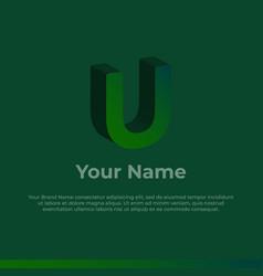 Logotype alphabet 3d logo letter u monogram logo vector