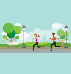 man and woman running in the park vector image