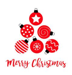 Merry christmas ball set triangle tree shape cute vector