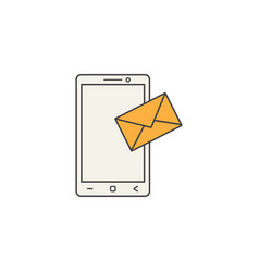 mobile mail line icon sms sign message vector image